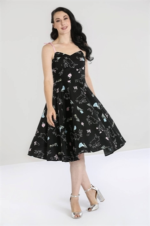 Hell Bunny Black Binky Bunny 50s Rockabilly Swing Dress