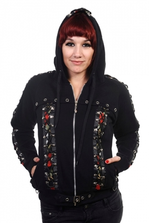 Banned Alternative Black Skull Rose Corset Gothic Hoodie