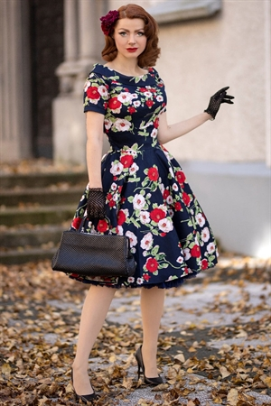 Dolly & Dotty Darlene Retro Black Red & White Floral Swing Dress
