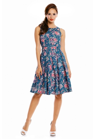 Dolly and Dotty 50's Blue Pink Floral Rockabilly Swing Dress