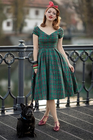 Dolly & Dotty Lily Green Tartan Off Shoulder Rockabilly Swing Dress