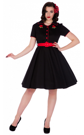 Dolly & Dotty Sherry Rockabilly Diner Dress In Black
